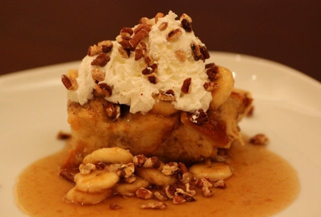 French Toast Bread Pudding with Bourbon Banana Syrup