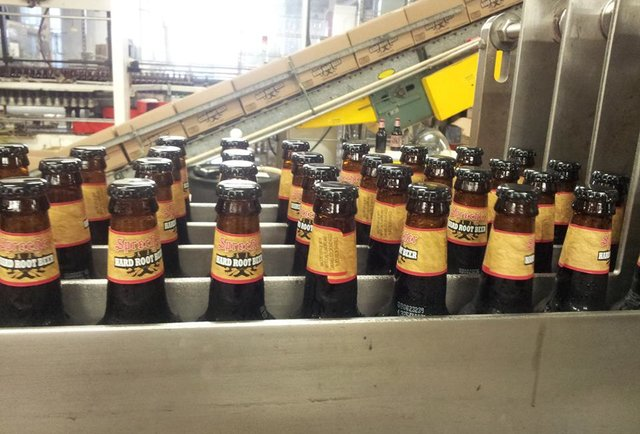 rows of beers on the assembly line