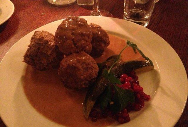 meatballs, lingonberry jam, cream sauce