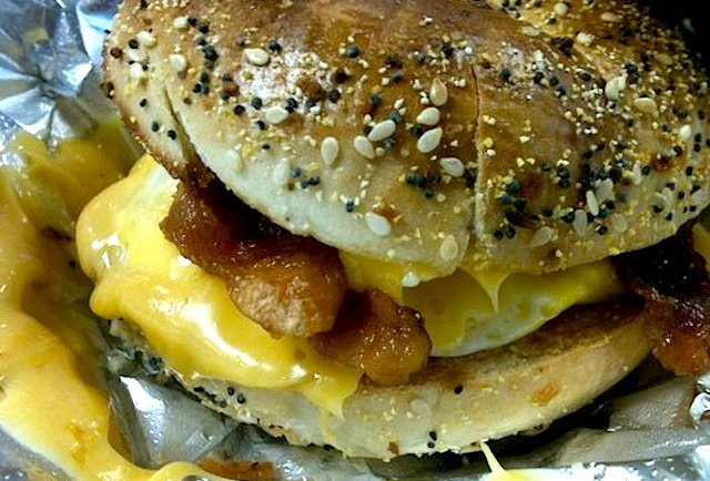 country begal bacon egg cheese rose donuts