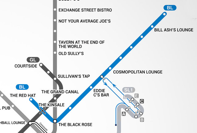 Boston S First Map Of Bars Near The T Mbta Bar Map