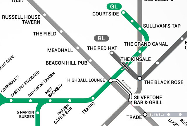Green Line Boston T Bar Map