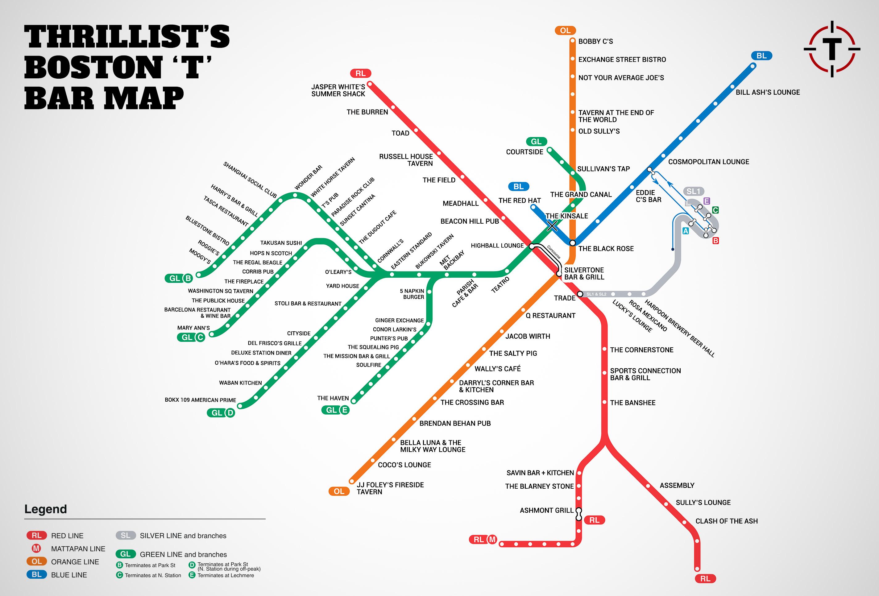 Bostons first map of bars near the T MBTA Bar Map Thrillist