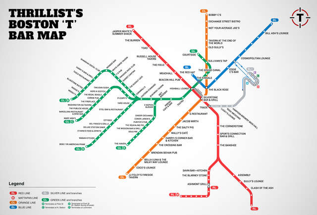 Boston T Bar Map