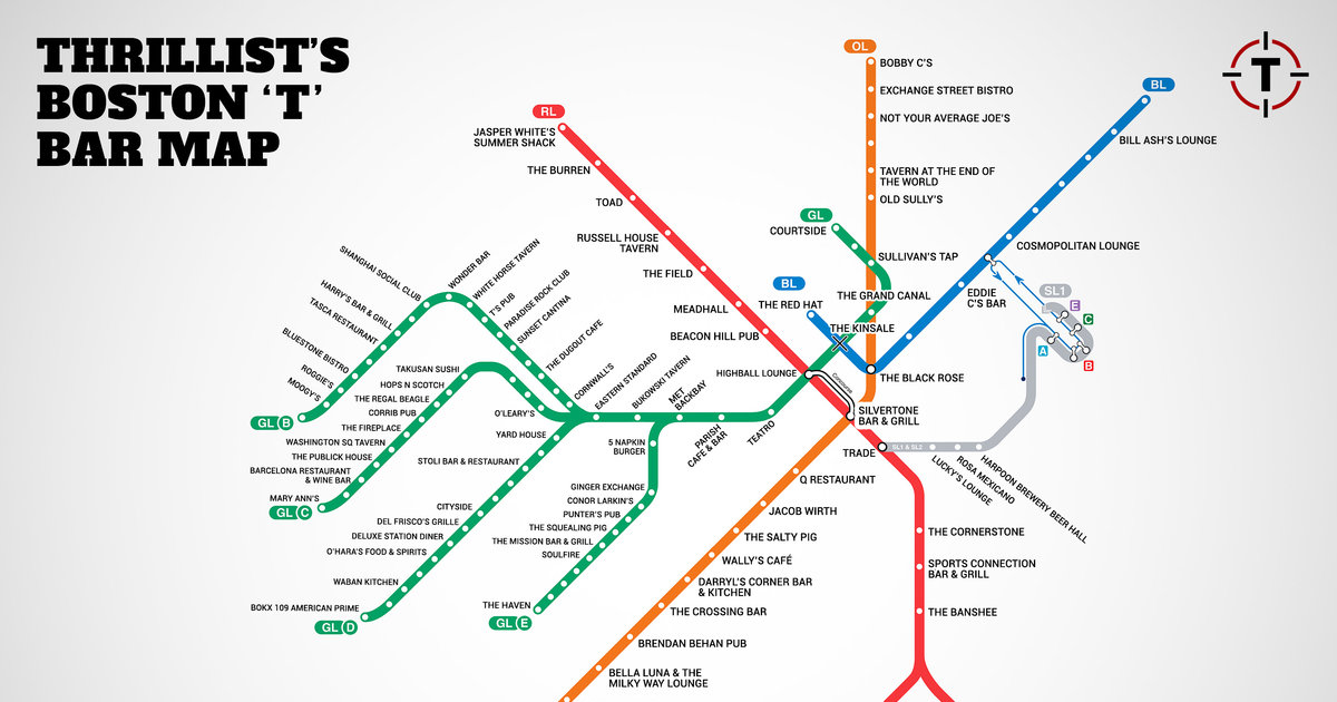 Bostons First Map Of Bars Near The T Mbta Bar Map