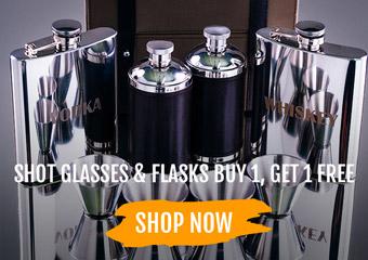 Shotglasses & Flasks Buy 1, Get 1 Free!