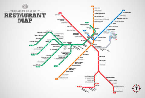 Map Of Restaurants Near Boston T Stops Mbta Restaurant