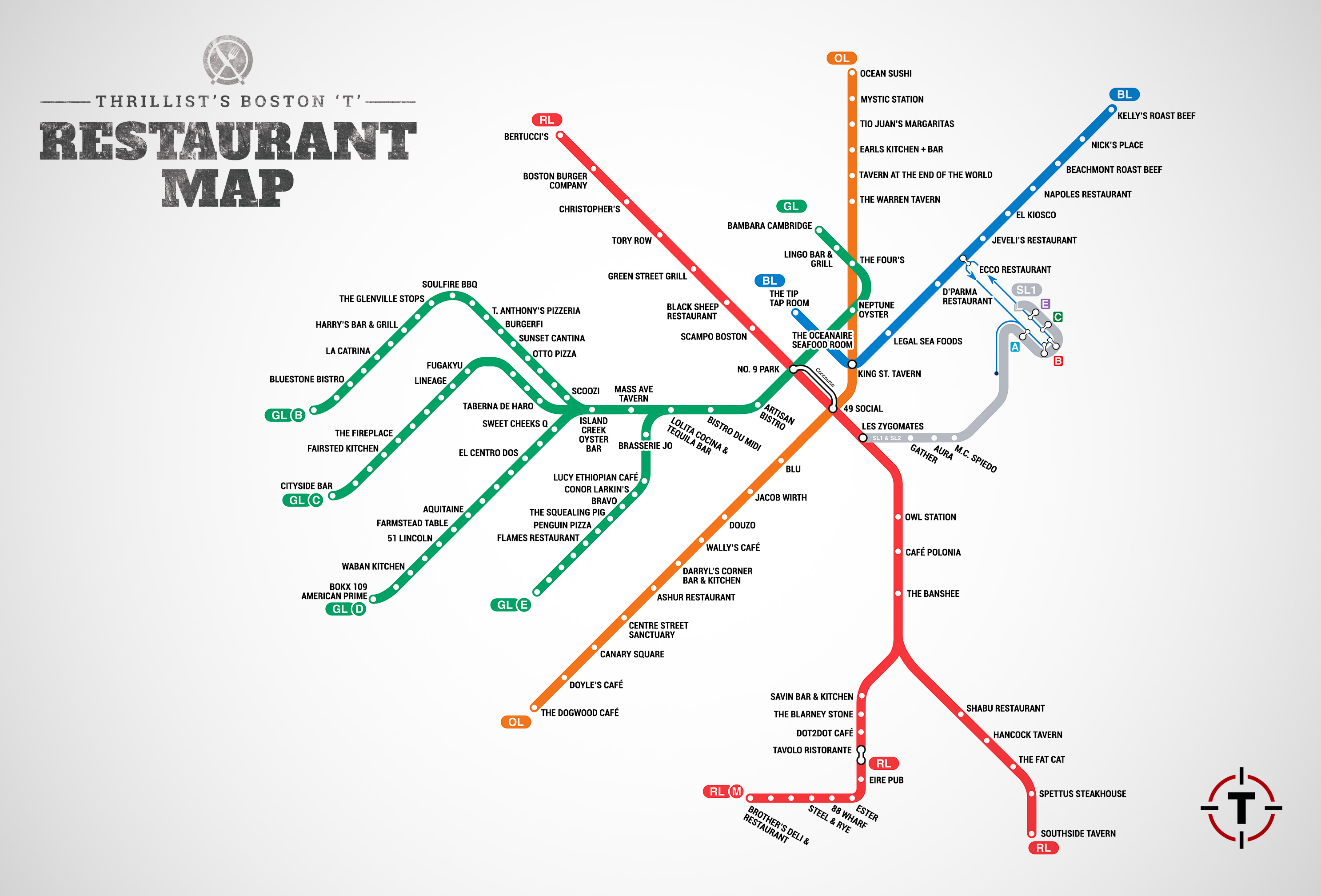 Map of Restaurants Near Boston T Stops MBTA restaurant guide