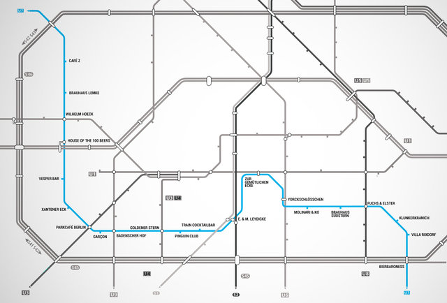 Berlin u bahn map map with bars near every stop