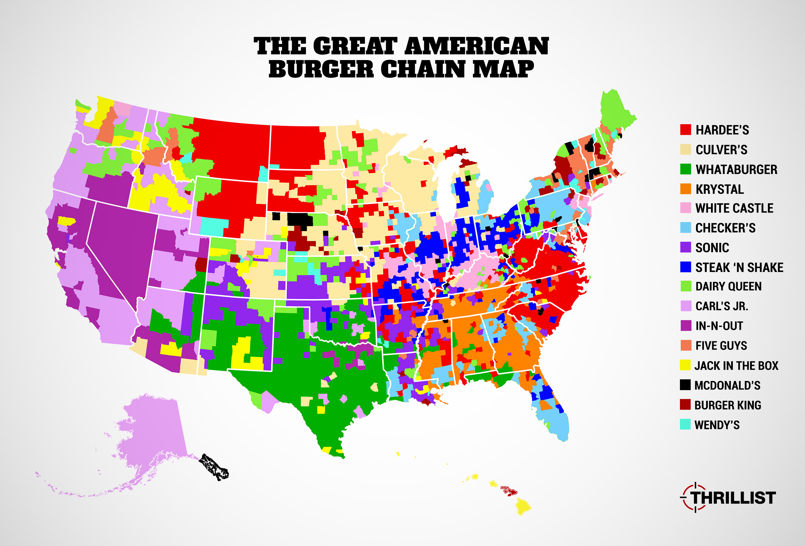Most Popular American Burger Chains Map InNOut Sonic Five - Washington dc location in the usa map