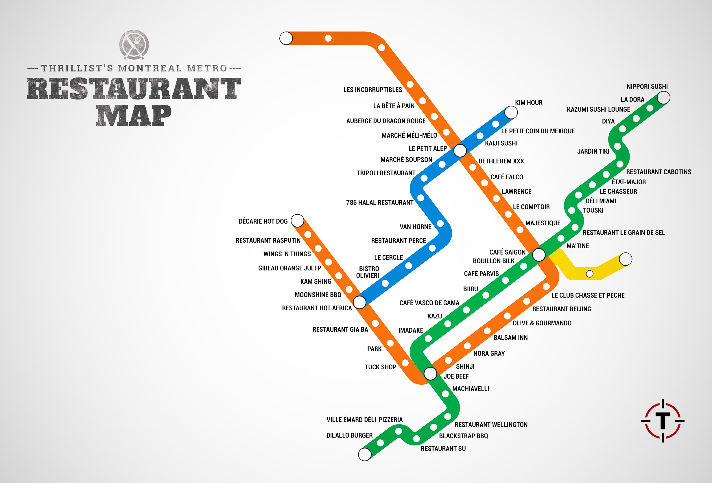check out a blownup version of our restaurant map here . montreal metro restaurant map  montreal restaurants near stations