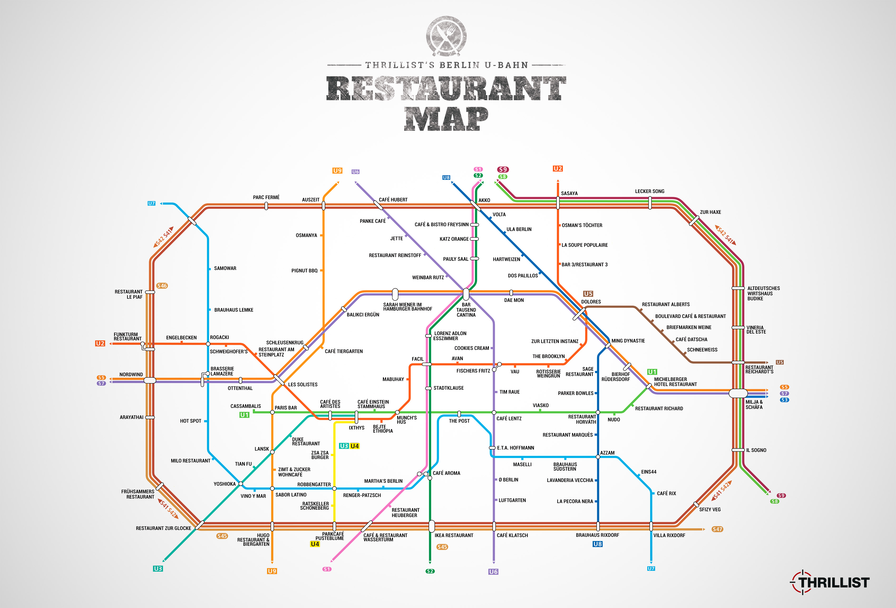 Berlin UBahn Restaurant Map Berlin Restaurants Near Stations - Berlin us bahn map