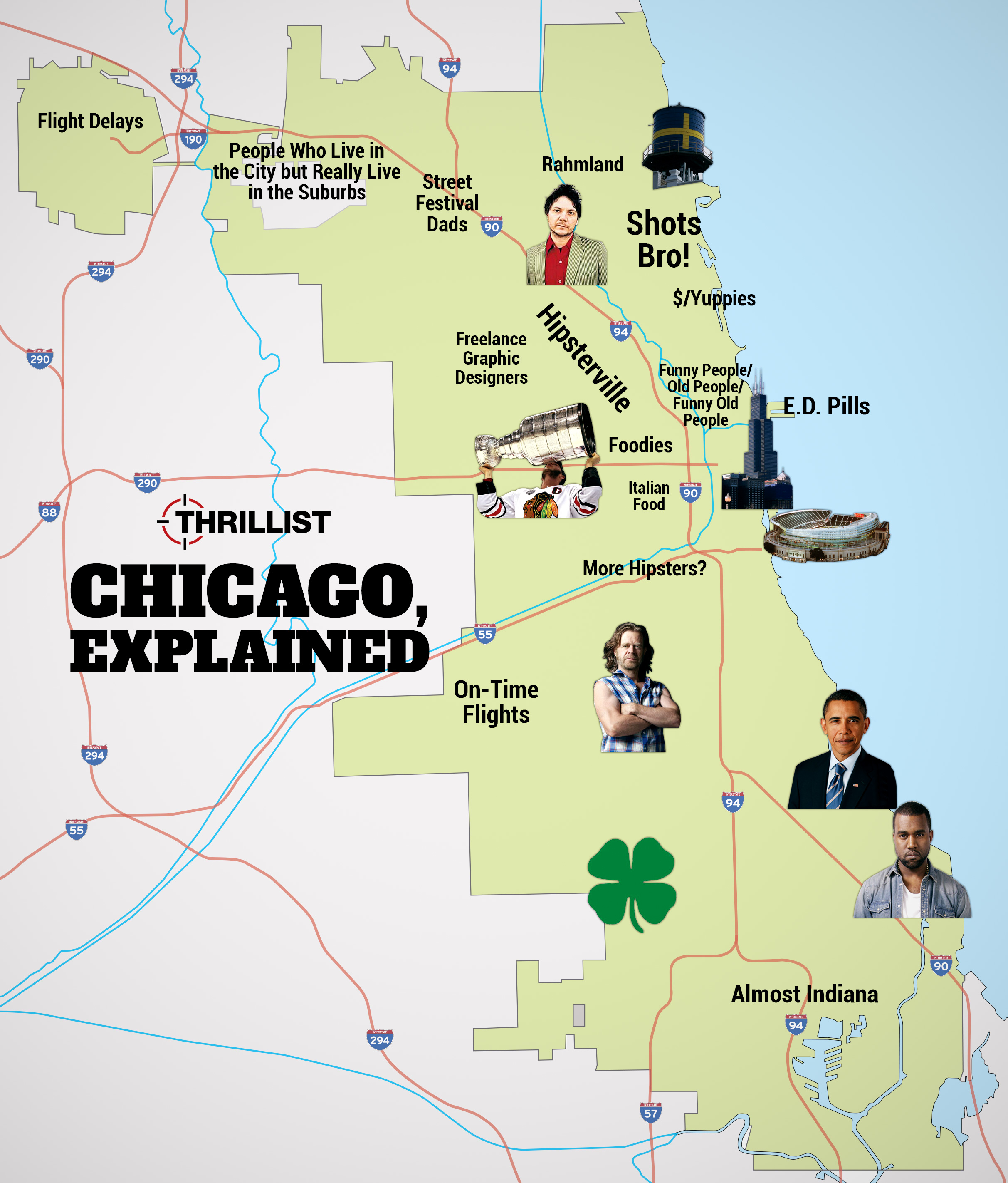 Chicago Neighborhood Stereotypes Infographic Thrillist - Chicago il map neighborhoods