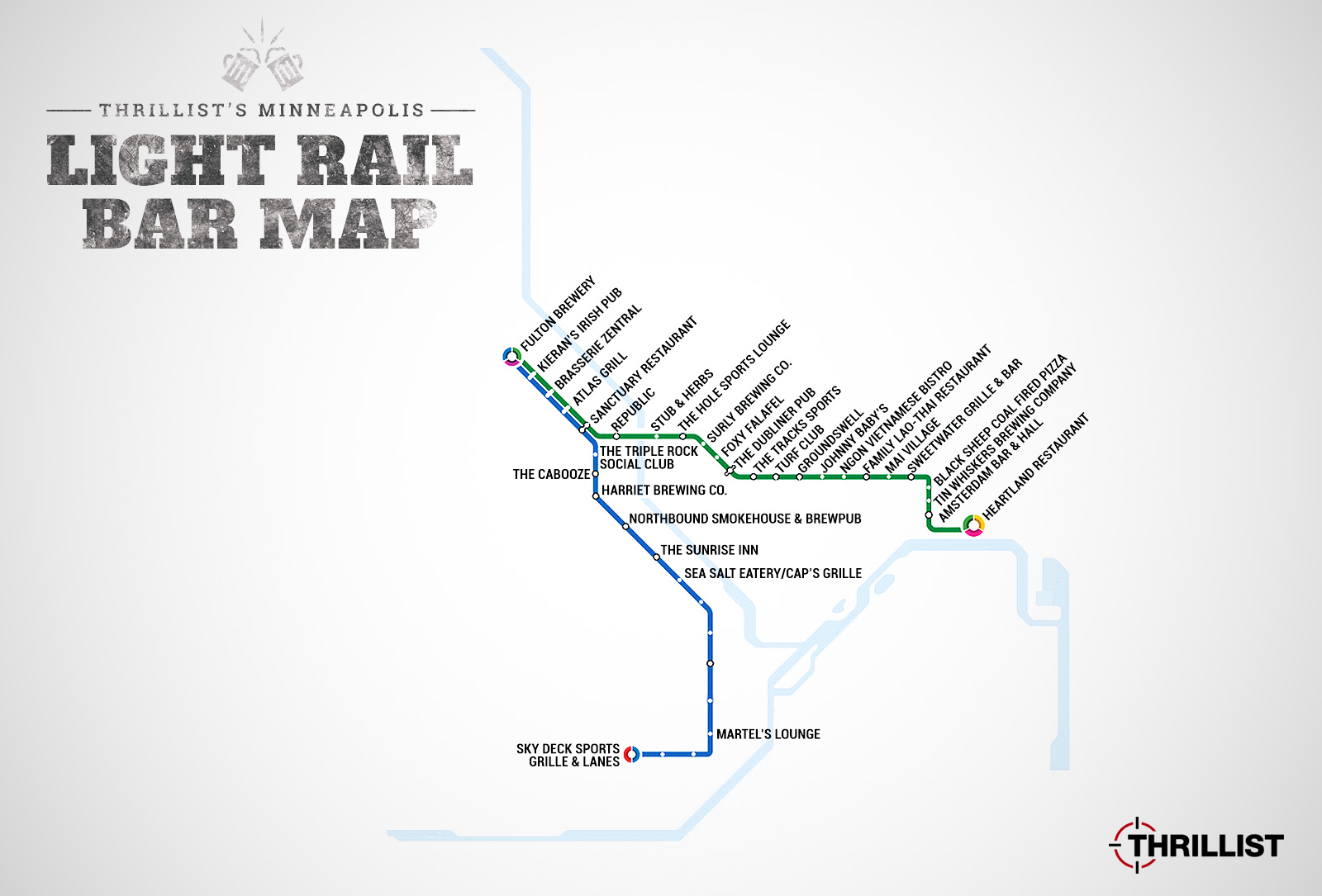 Twin Cities Light Rail Map - Map With Bars Near Every Stop - Thrillist