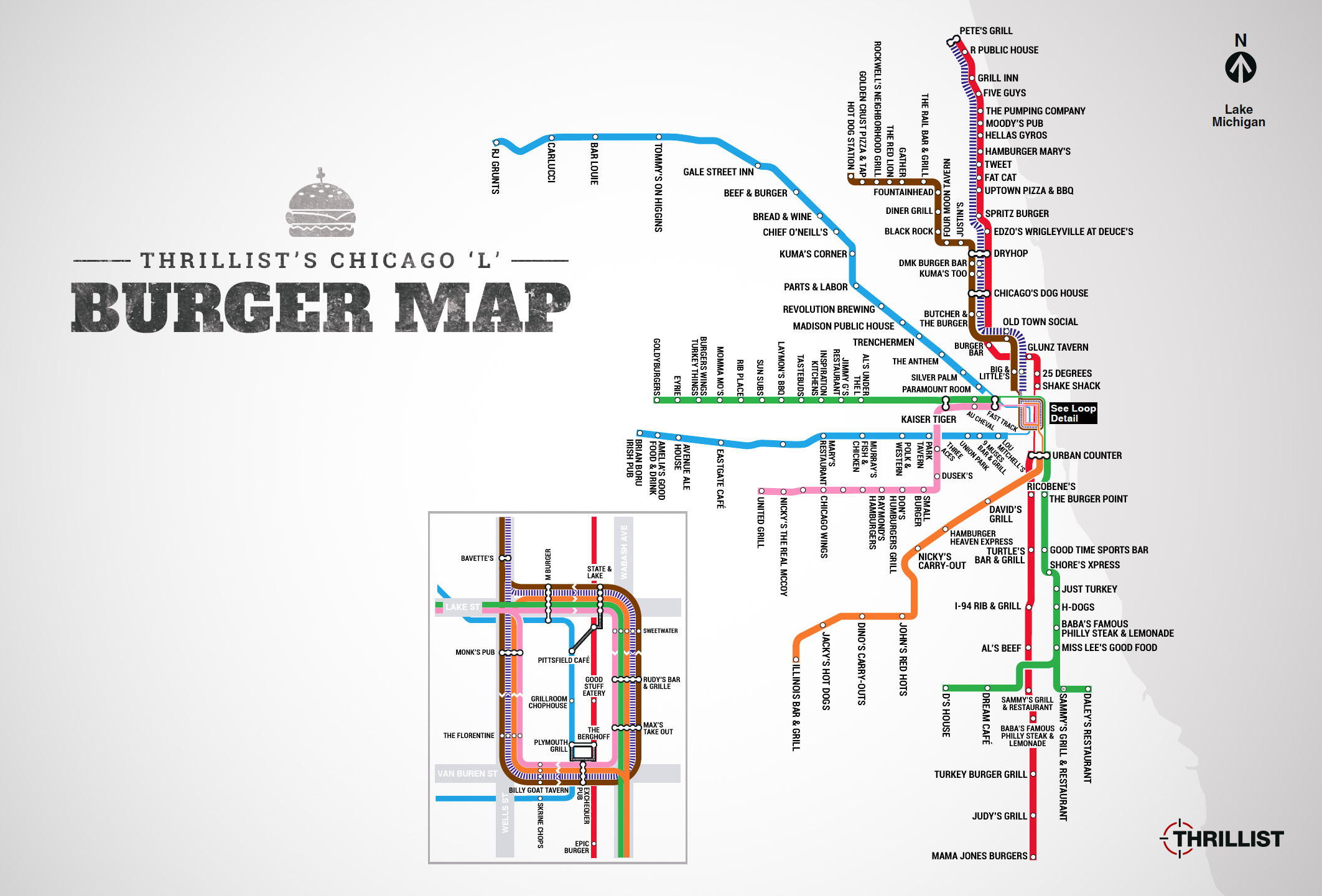 The Best Burger In Chicago At Every L Stop - Thrillist Chicago Cta Map on