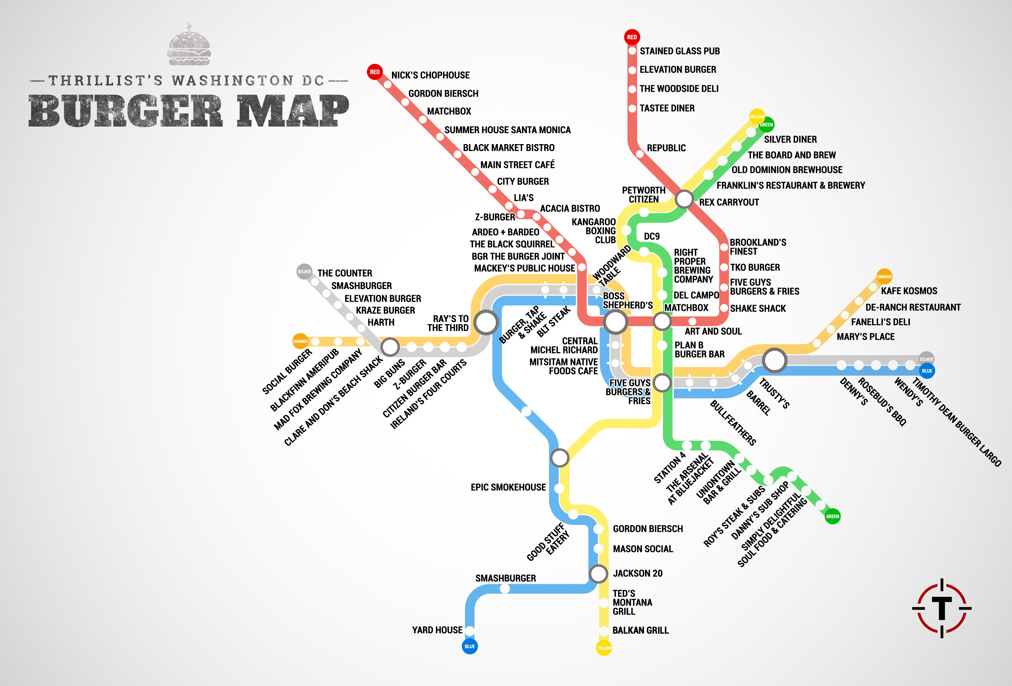 The Washington DC Metro Burger Map Burgers At Every Metro Stop - Austin metro area map