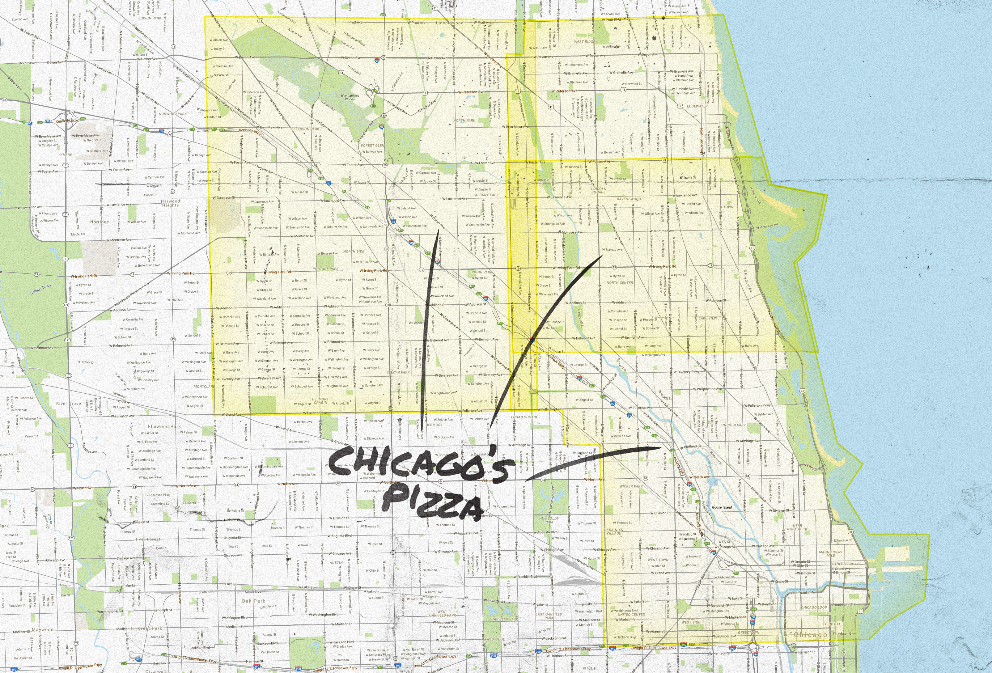 Chicago Pizza Delivery Map  Piece Salernos Pequods and More