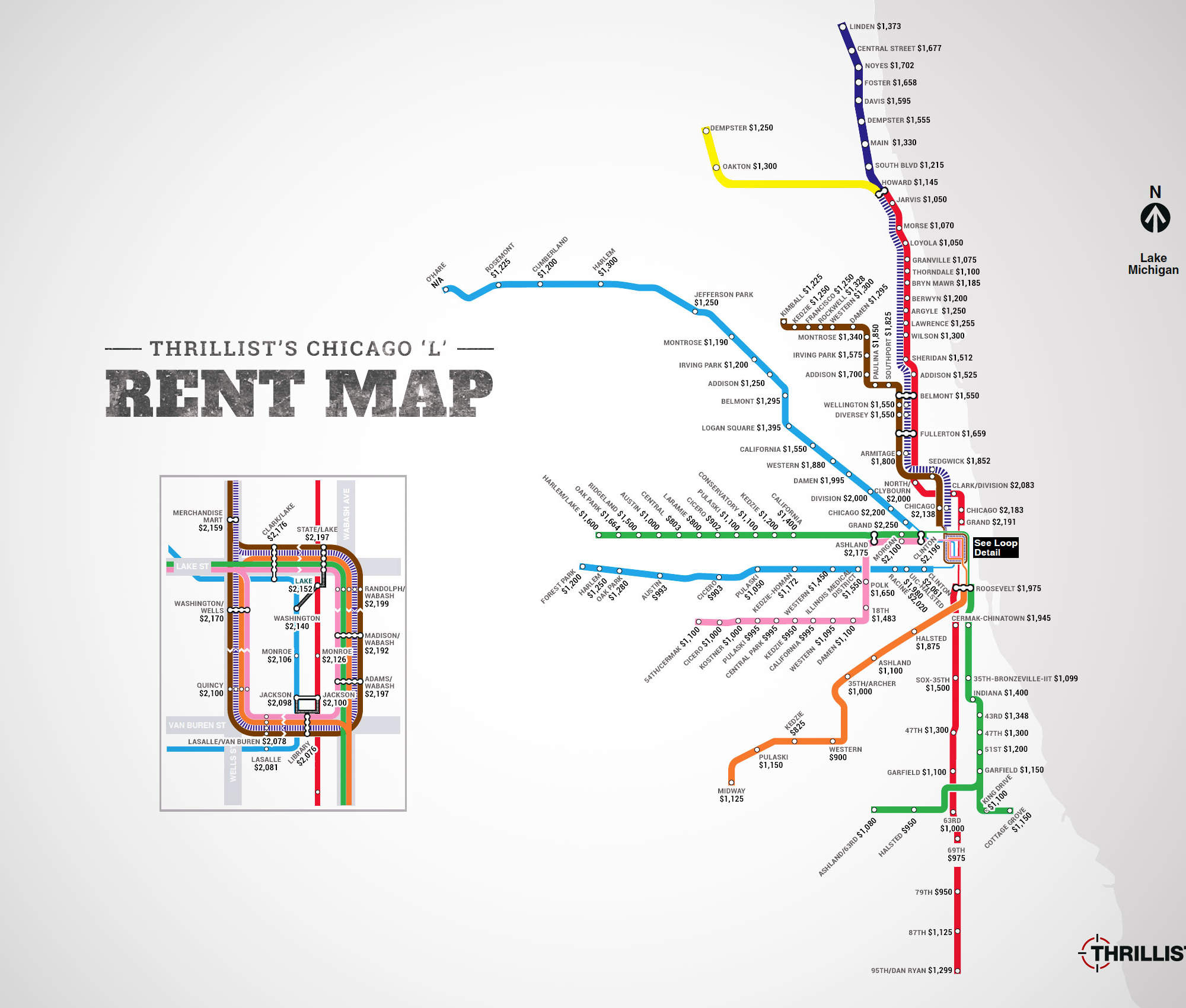 The 'L' Rent Map: Where You Can't Afford to Live, by Stop