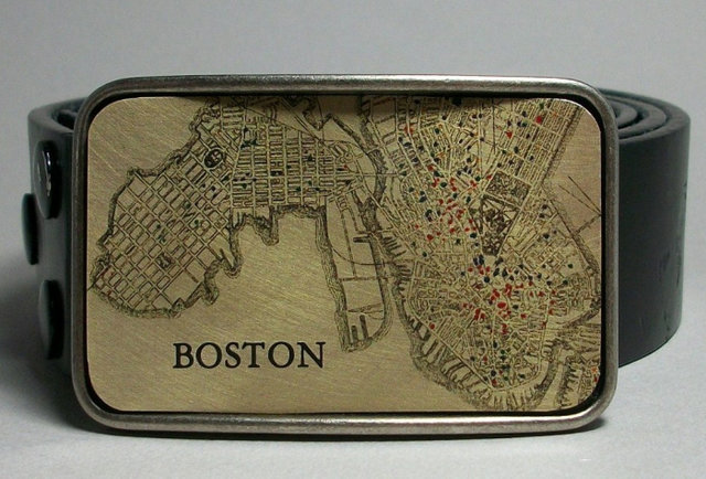 Massachusetts Vintage Map Belt