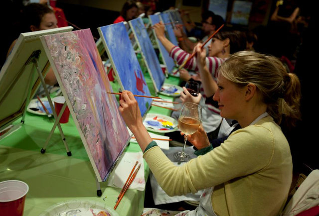Paint nite entertainment thrillist boston for Wine and paint boston