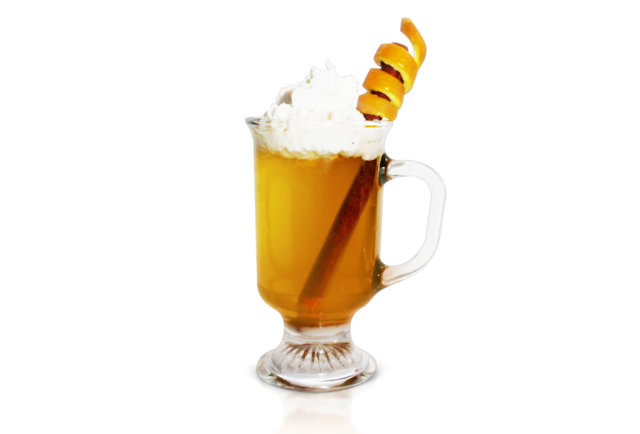 A morning tipple topped with whipped cream and orange rind shavings