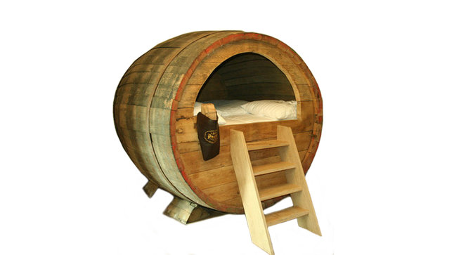 Bed designed in beer barrel.