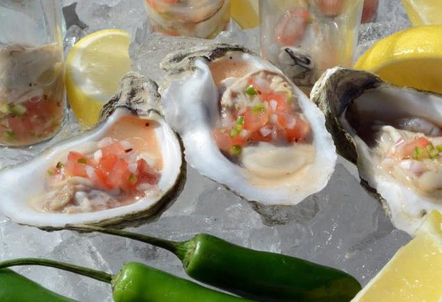 Wood-grilled oysters at Waters