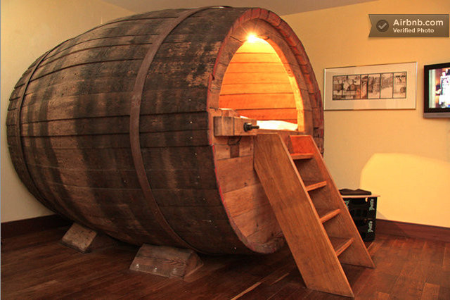 airbnbest beer barrel bed travel thrillist. Black Bedroom Furniture Sets. Home Design Ideas