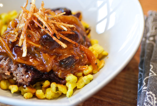 Gunshow - braised short rib with lemon spaetzle and shrooms
