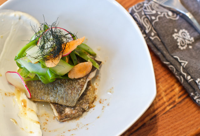 Gunshow - trout a la planch with shaved aparagus and brown butter