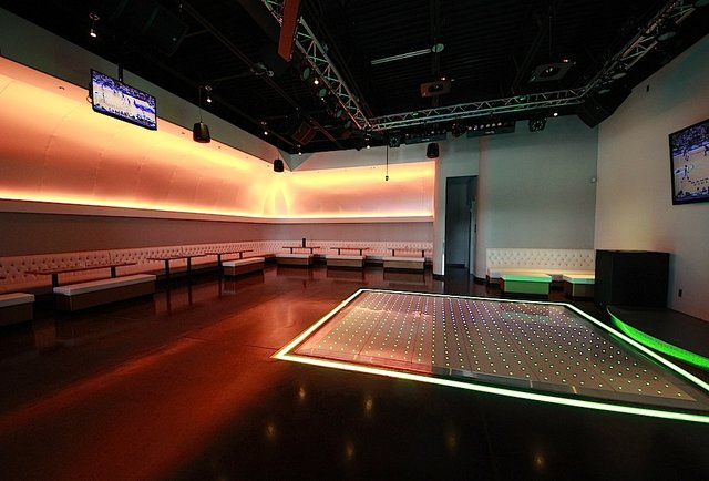 A karaoke stage at Trio Club