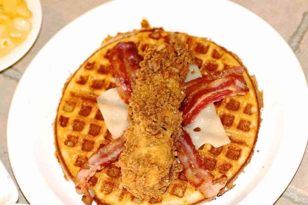 Chicken and waffle taco Lucky Js