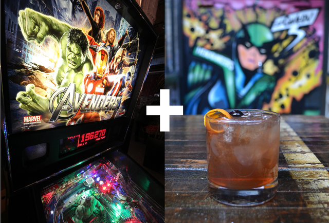 The Avengers & The Brooklyner at Headquarters Pinball room
