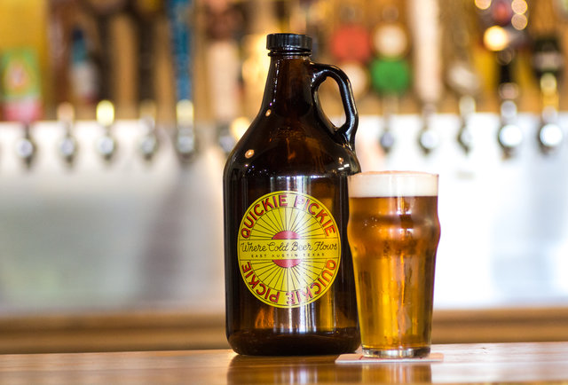 A growler at The Quickie Pickie
