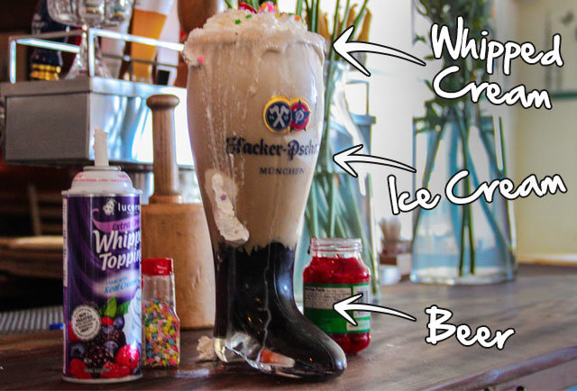 The world's biggest ice cream beer float has 12 scoops, 68oz of brew, and comes served in a glass boot