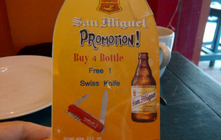 For every four San Miguel beers you buy in Bangkok, you get a FREE KNIFE!!!