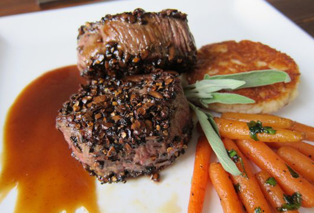 Coffee-pepper beef medallions at Masa Azul