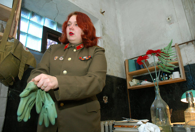 Guard at haunted Naval Port Prison in Latvia