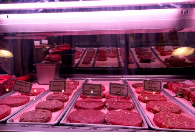 Raw burgers at  The Butcher Shop