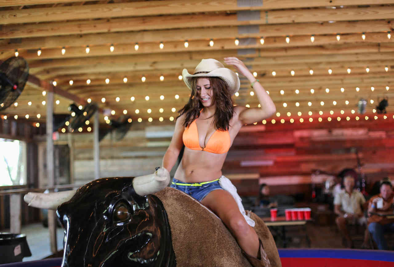 Bikinis, TX bull ride
