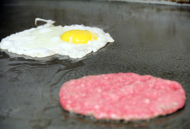Frying an egg, grilling a burger at Griddler's