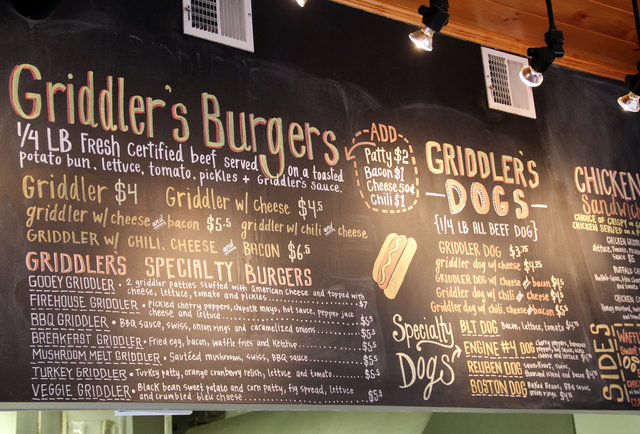 Menu board at Beacon Hill's Griddler's Burgers & Dogs
