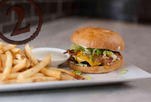 Bacon/Cheddar/Onion Burger at Marlowe