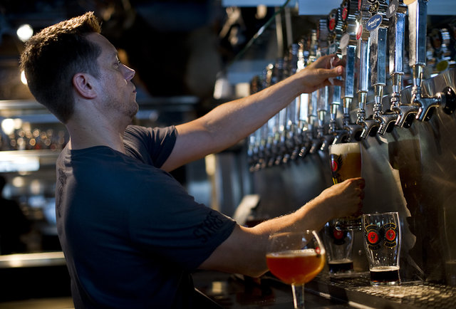A beer being poured at Griffin Claw Brewing Company