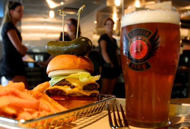 The burger at Griffin Claw Brewing Company