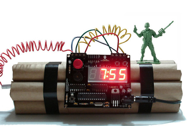 This alarm clock will self-destruct in 10 seconds