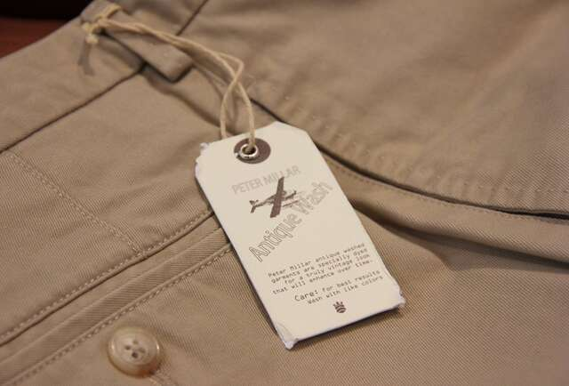 Peter Millar Washed Twill Flat Front Khakis