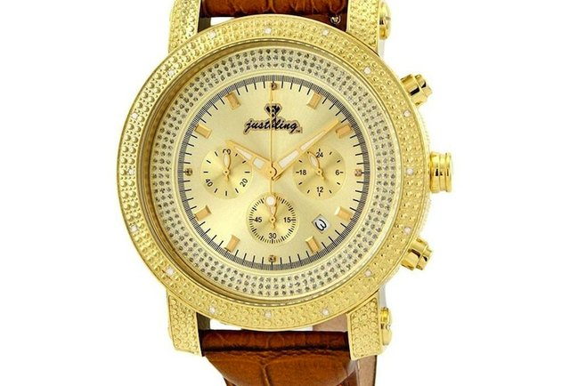 Victor Watch, Diamond-Encrusted Gold-Accented Bezel