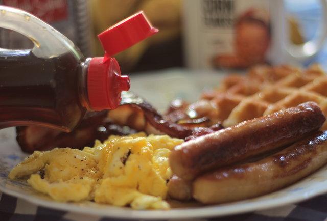 Waffles maple syrup breakfast