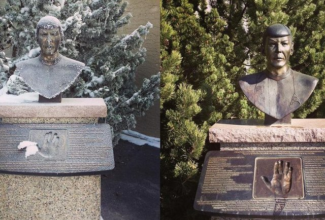 Spock busts in Vulcan, Alberta.